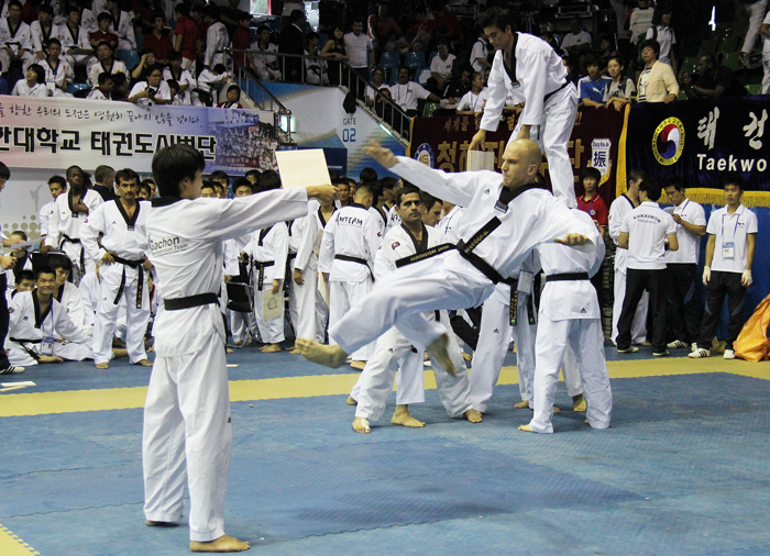 A taekwondo demonstration by overseas taekwondo trainees at the World Taekwondo Hanmadang 2012 (photo: Jeon Han)