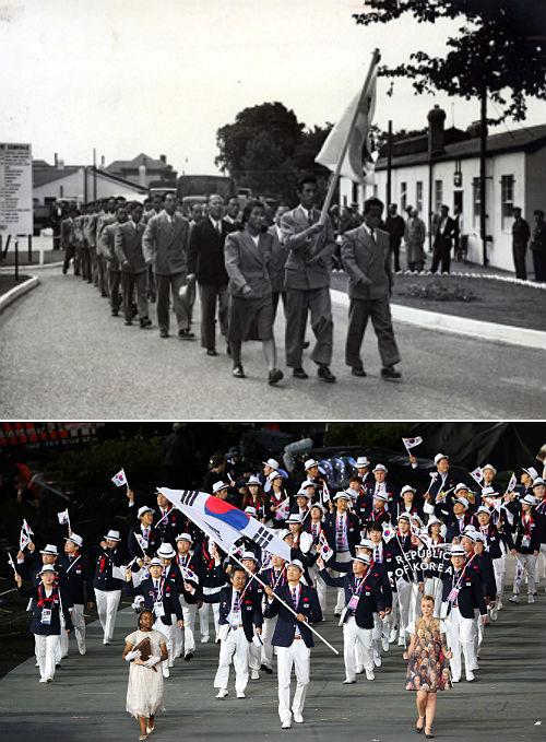 (图片来源:独立纪念馆)(右图)2012年伦敦奥运会开幕式,韩国图片