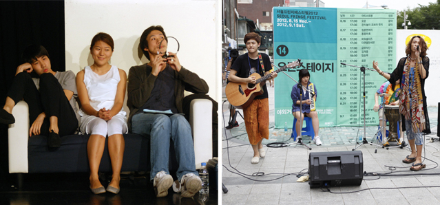 Left: Bijung Society questions how stories are made in its performance MammaMeal, Creation at Ye Theatre. Right: Band Mown performs for passersby in the street by Hongdae Station. Photos courtesy of Seoul Fringe Festival.